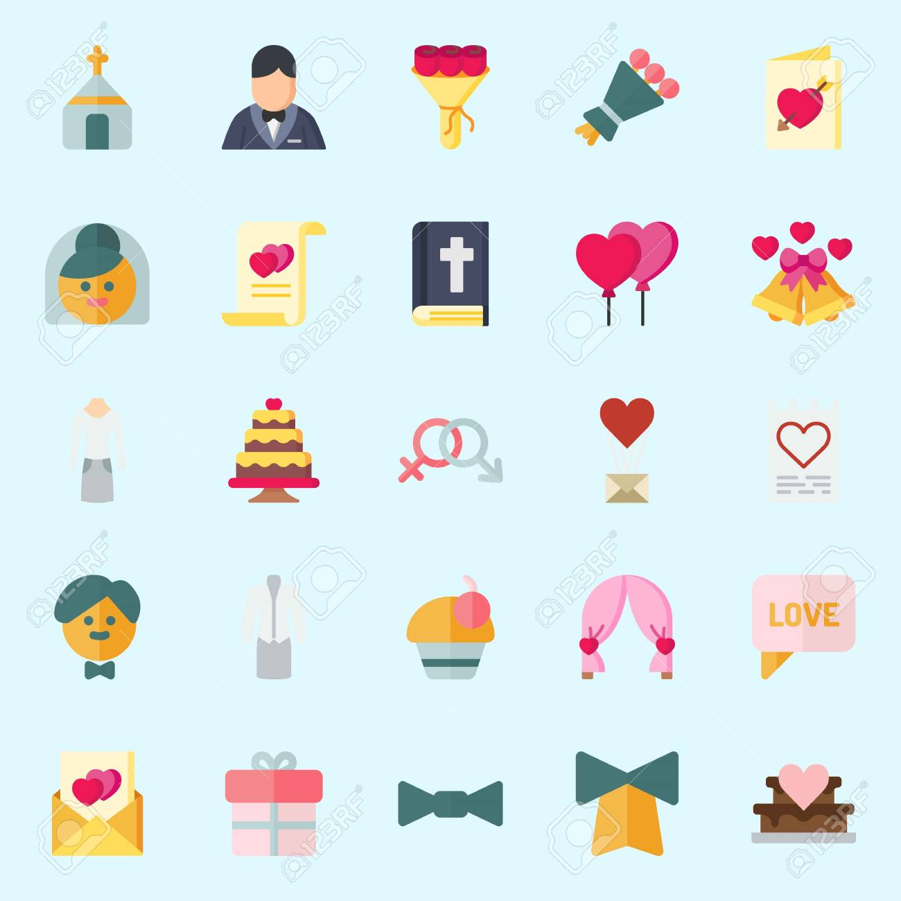 Icons Set About Wedding With Bride Marriage Bell Love Letter