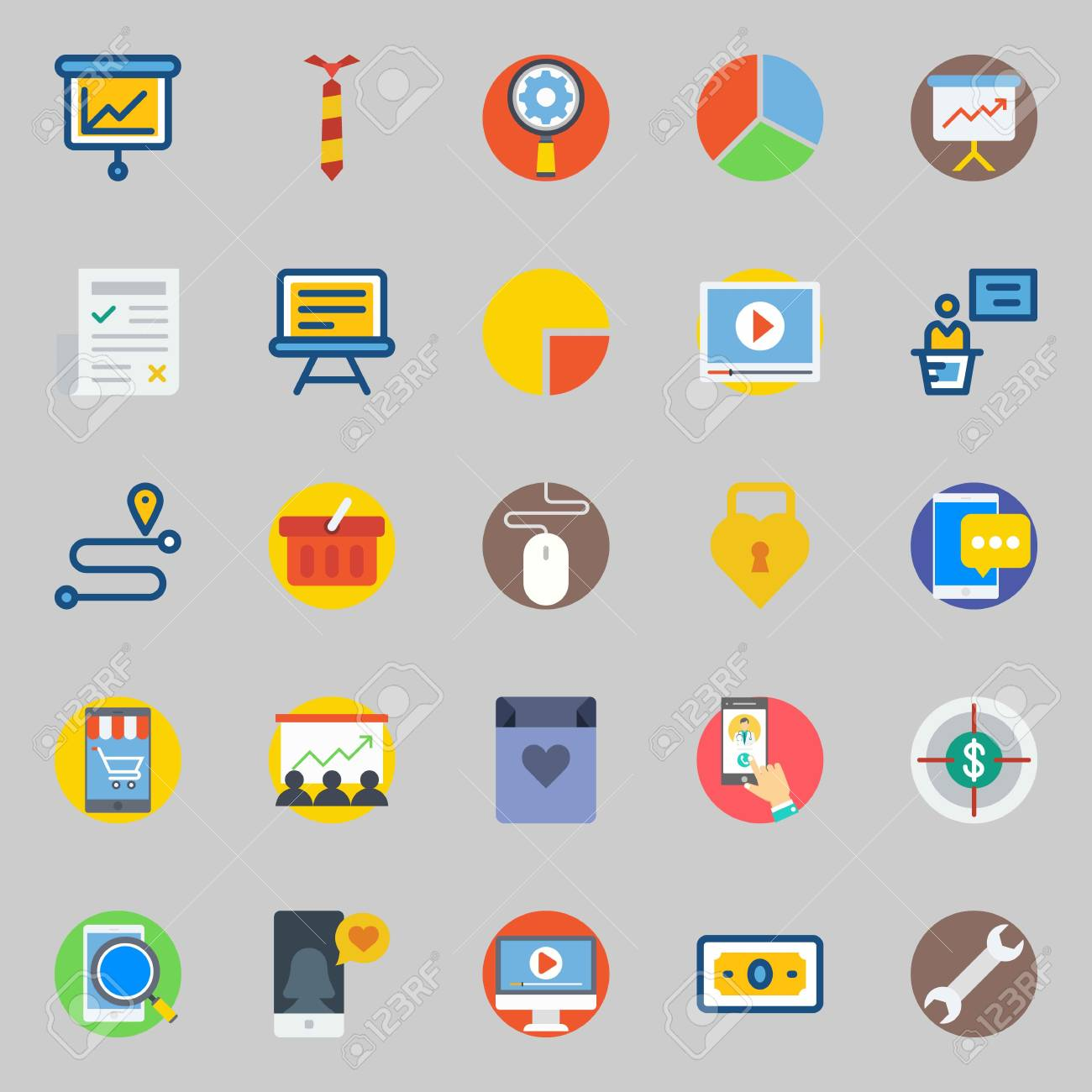 Icon set about digital marketing  with route, video player, settings,