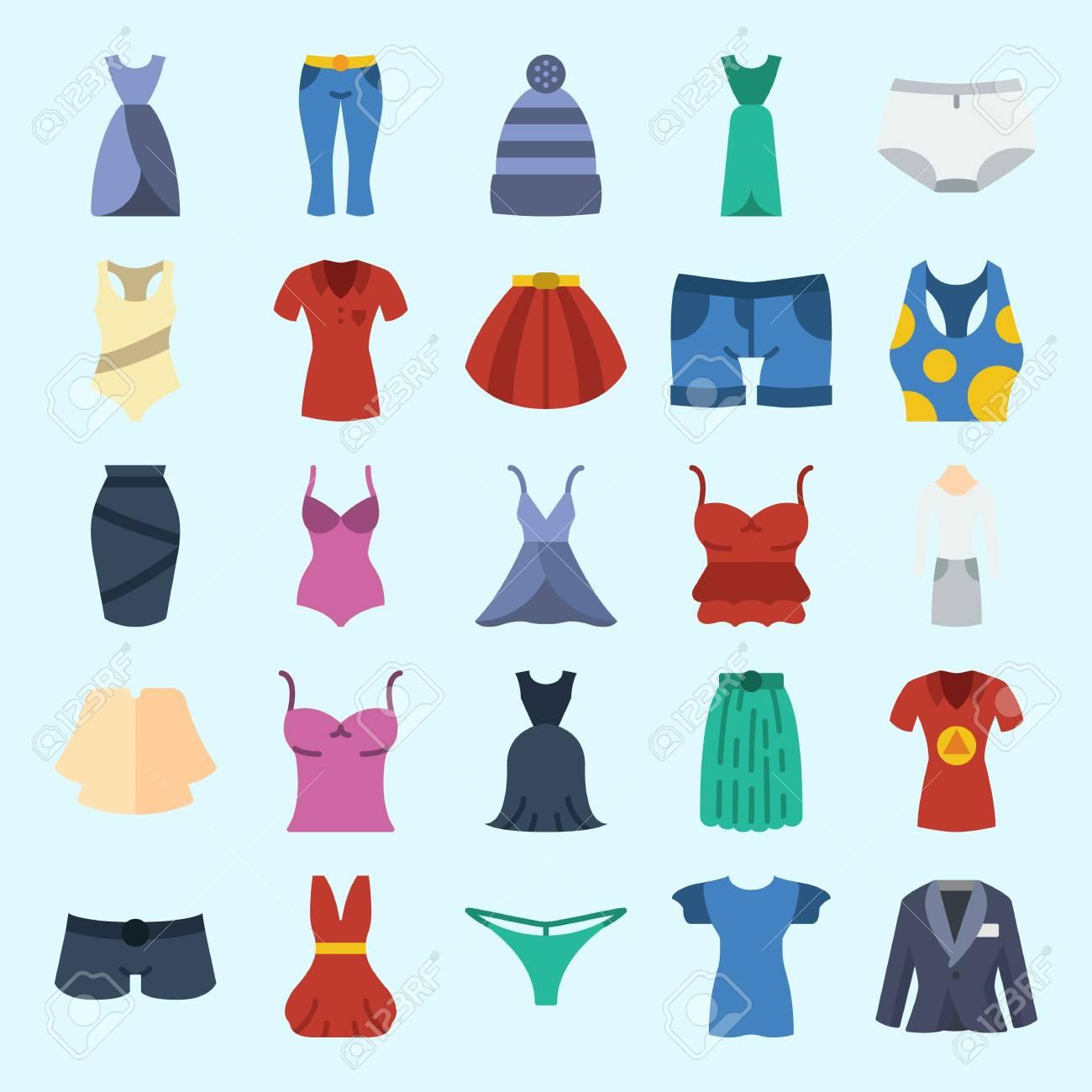 ikone stellte über frauenkleidung mit anzug, wintermütze, kleid, kurzen  hosen, schlüpfer und ärmellos ein.
