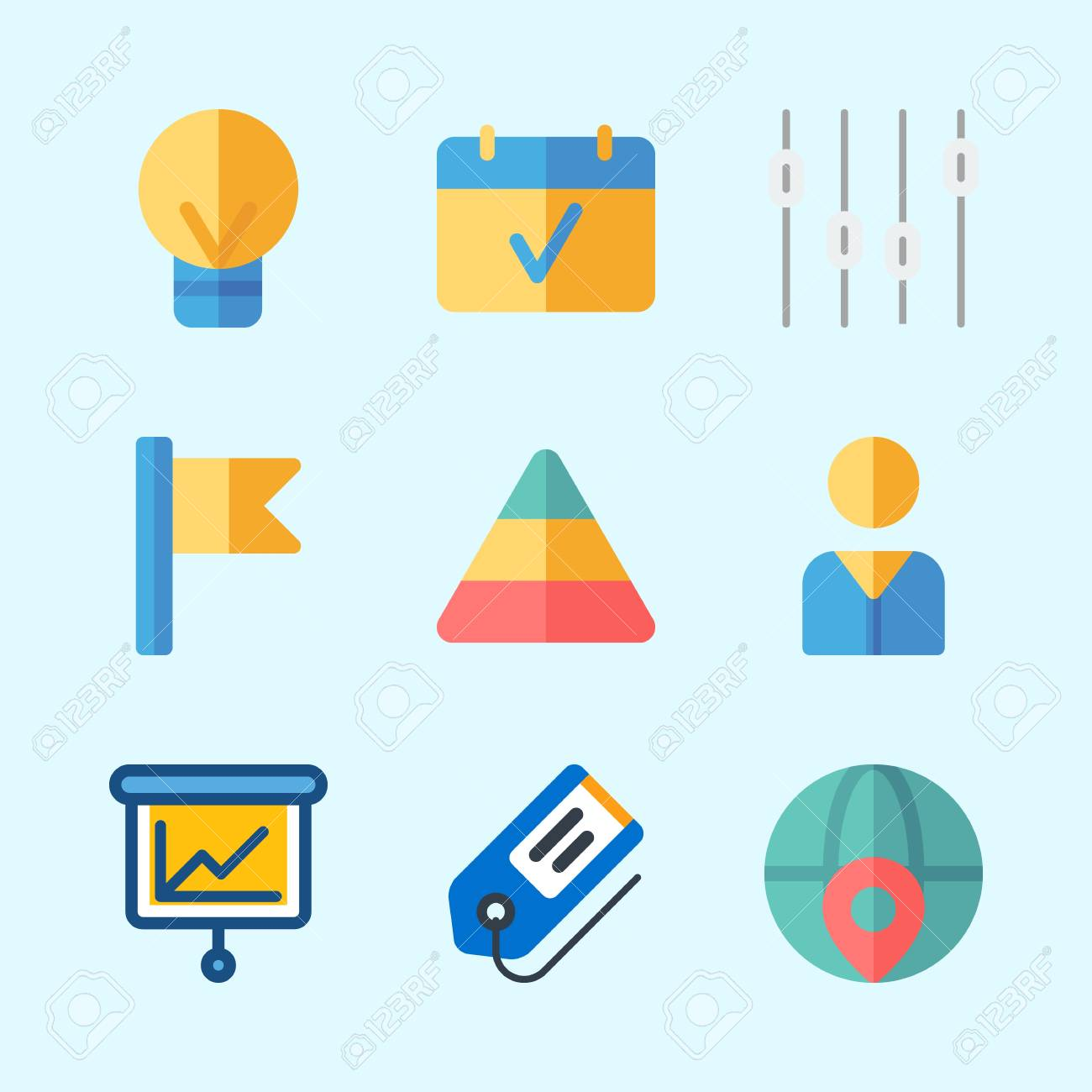 icons about business with user worldwide pyramid presentation