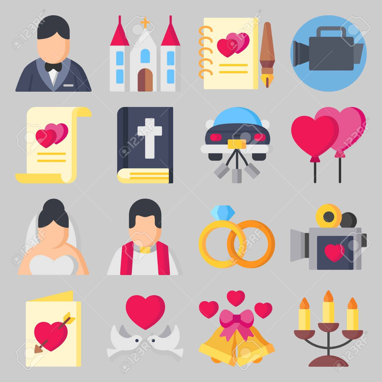 Icon Set About Wedding With Wedding Invitation , Video Camera ...