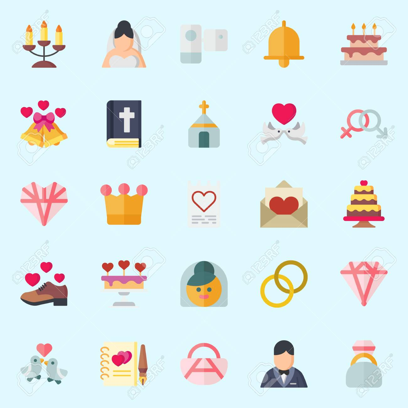 Icons Set About Wedding With Candelabra Love Letter Guests