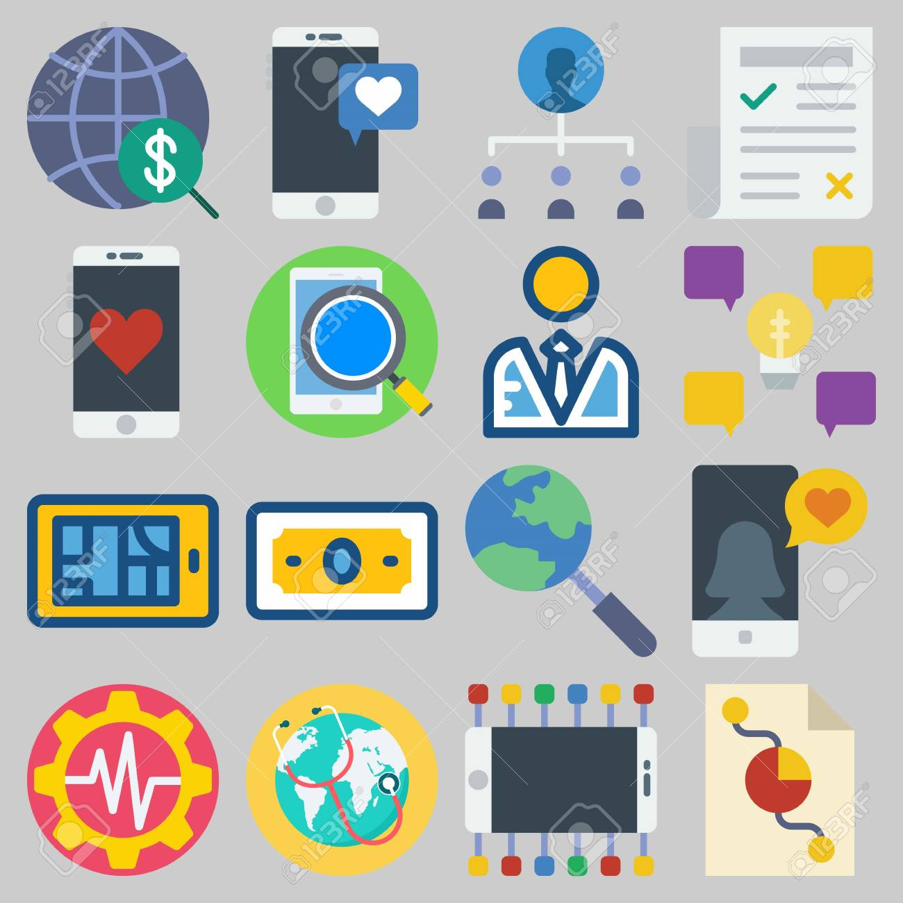 Icon Set About Marketing With Keywords Search Teamwork Settings