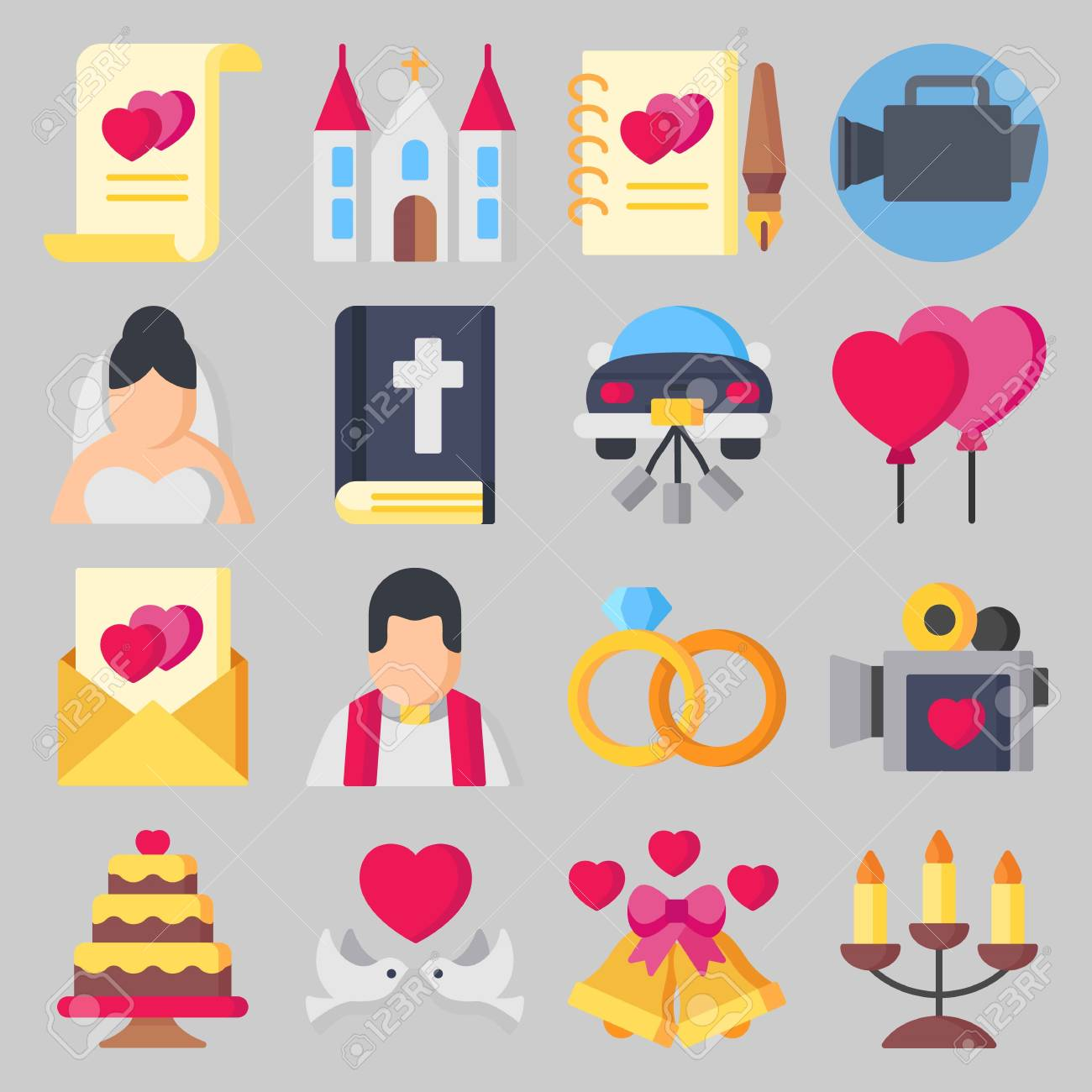 Icon Set About Wedding With Guests Book Love Letter And Bible