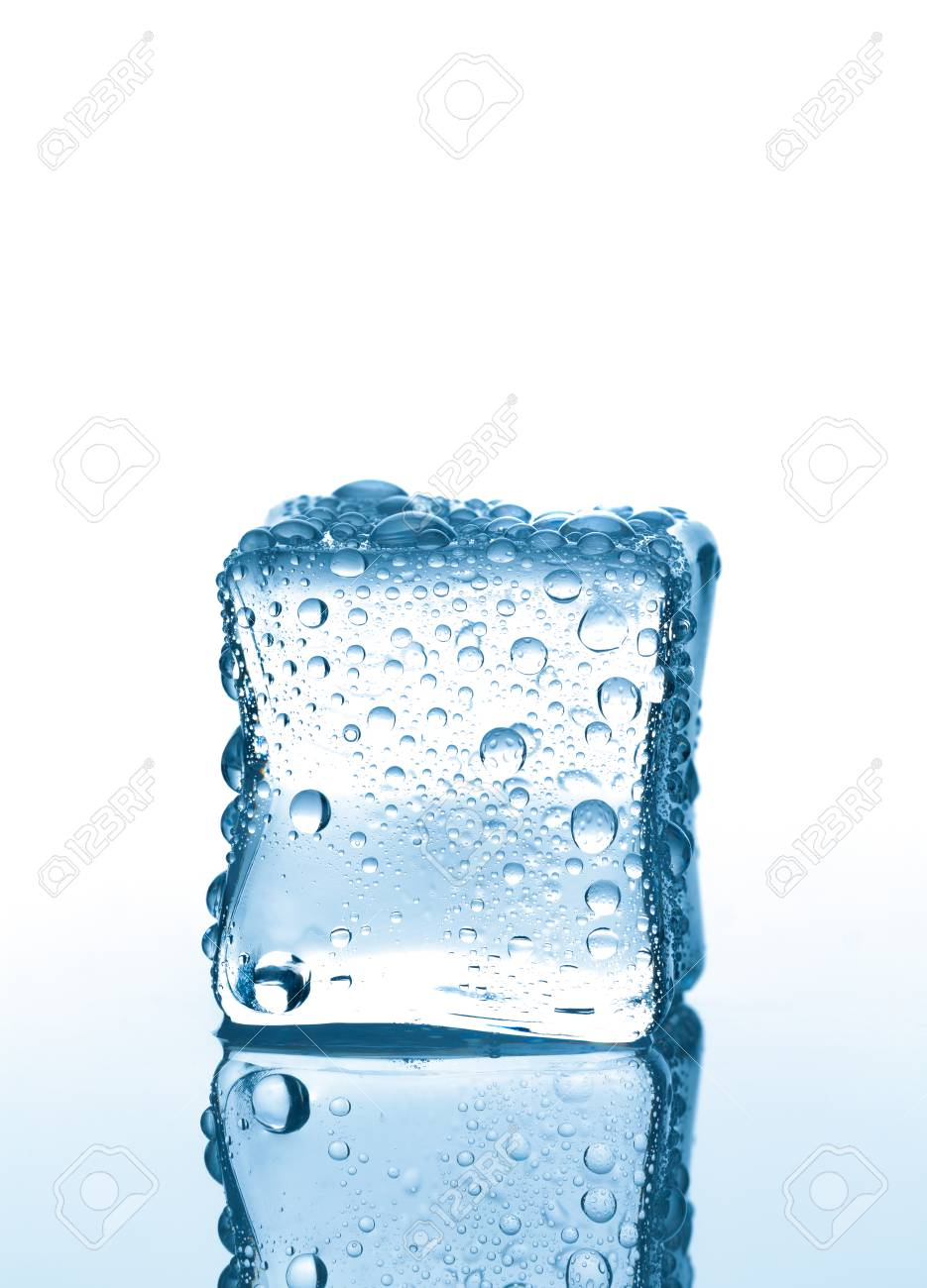new specials best selling fresh styles Single ice cube with water drops on white background with reflection