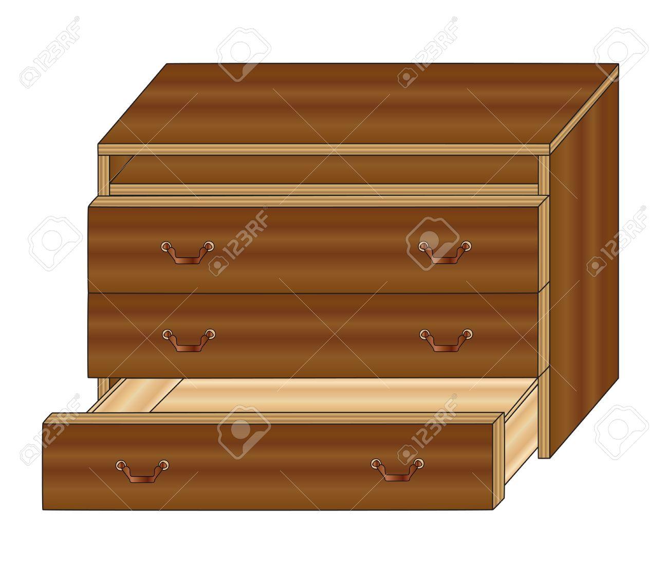 Muebles Pecho Marrón De Cajones Con Un Cajón Abierto Ilustraciones ...