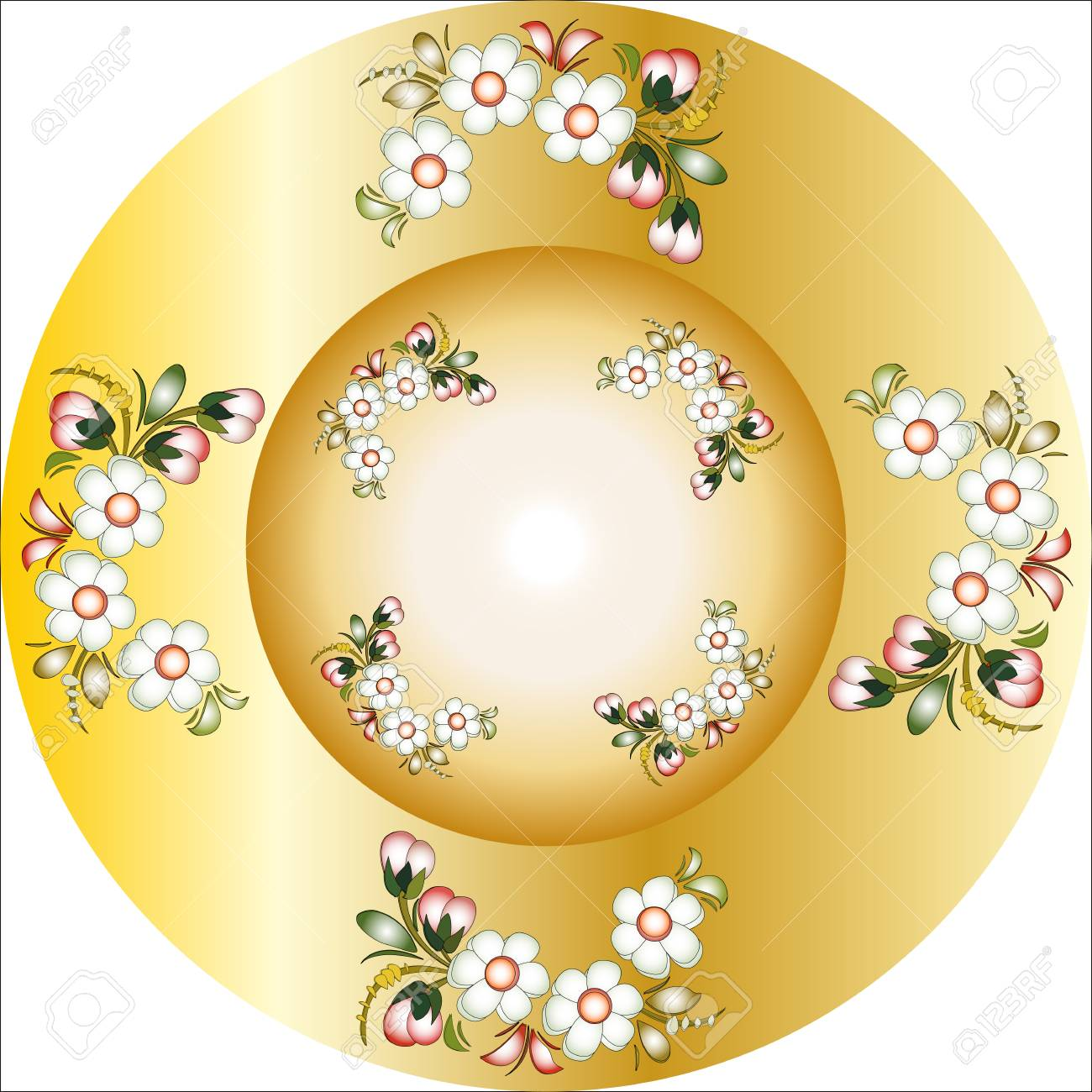 round ornament Golden plate with a painting Stock Vector - 22207713