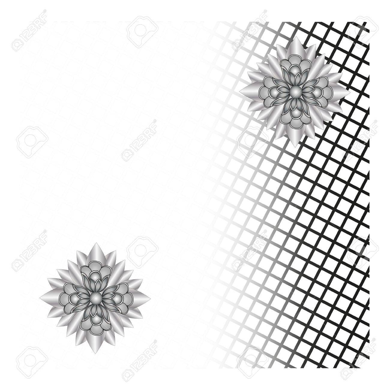 black mesh and flowers abstract background Stock Vector - 22359334