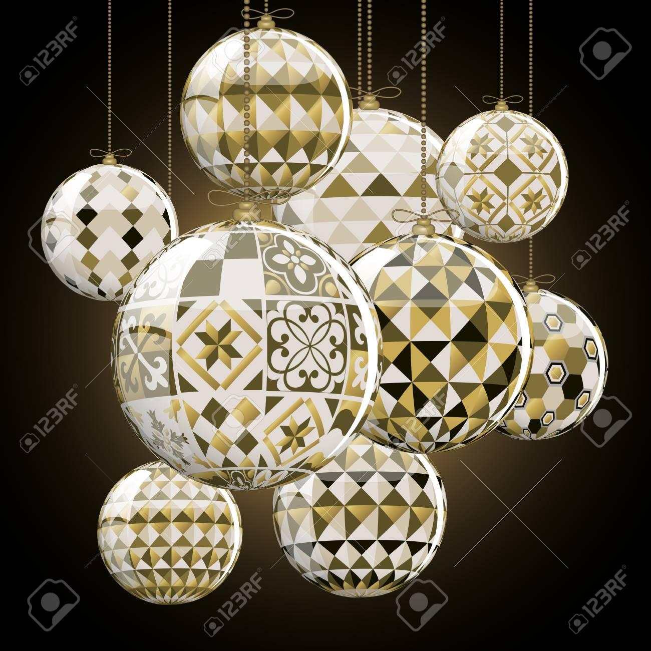 Geometric christmas balls full vector greeting card royalty free geometric christmas balls full vector greeting card stock vector 60198825 aloadofball Images