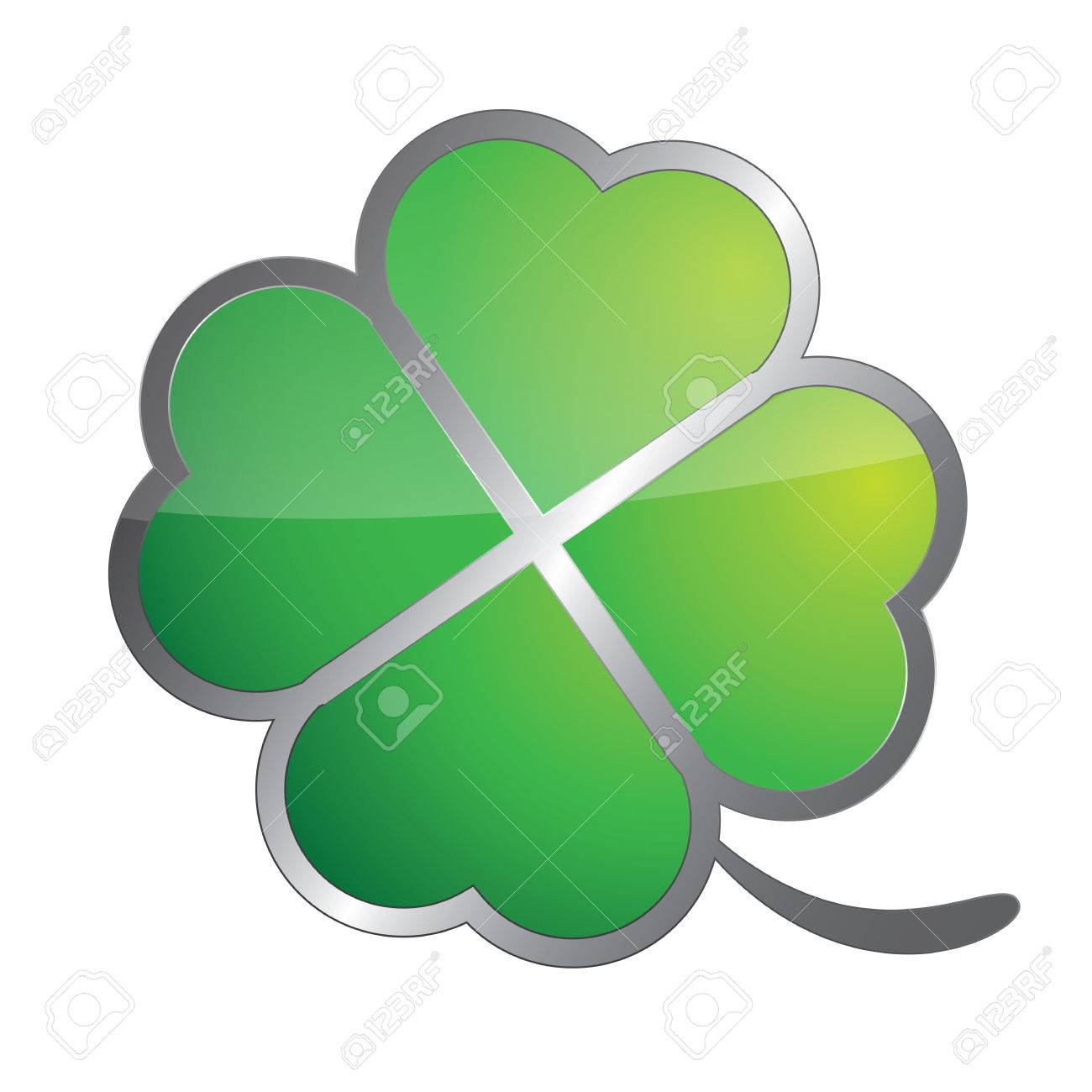 Four Leaf Clover Symbol Isolated On White Royalty Free Cliparts