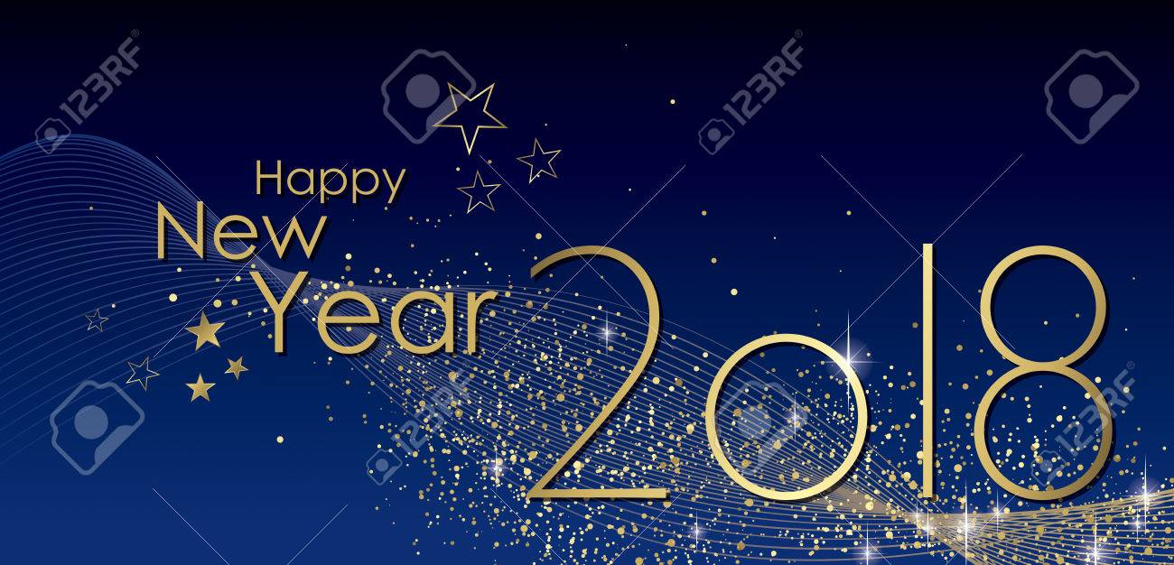 Happy New Year 2018 Greeting Card Vector Royalty Free Cliparts