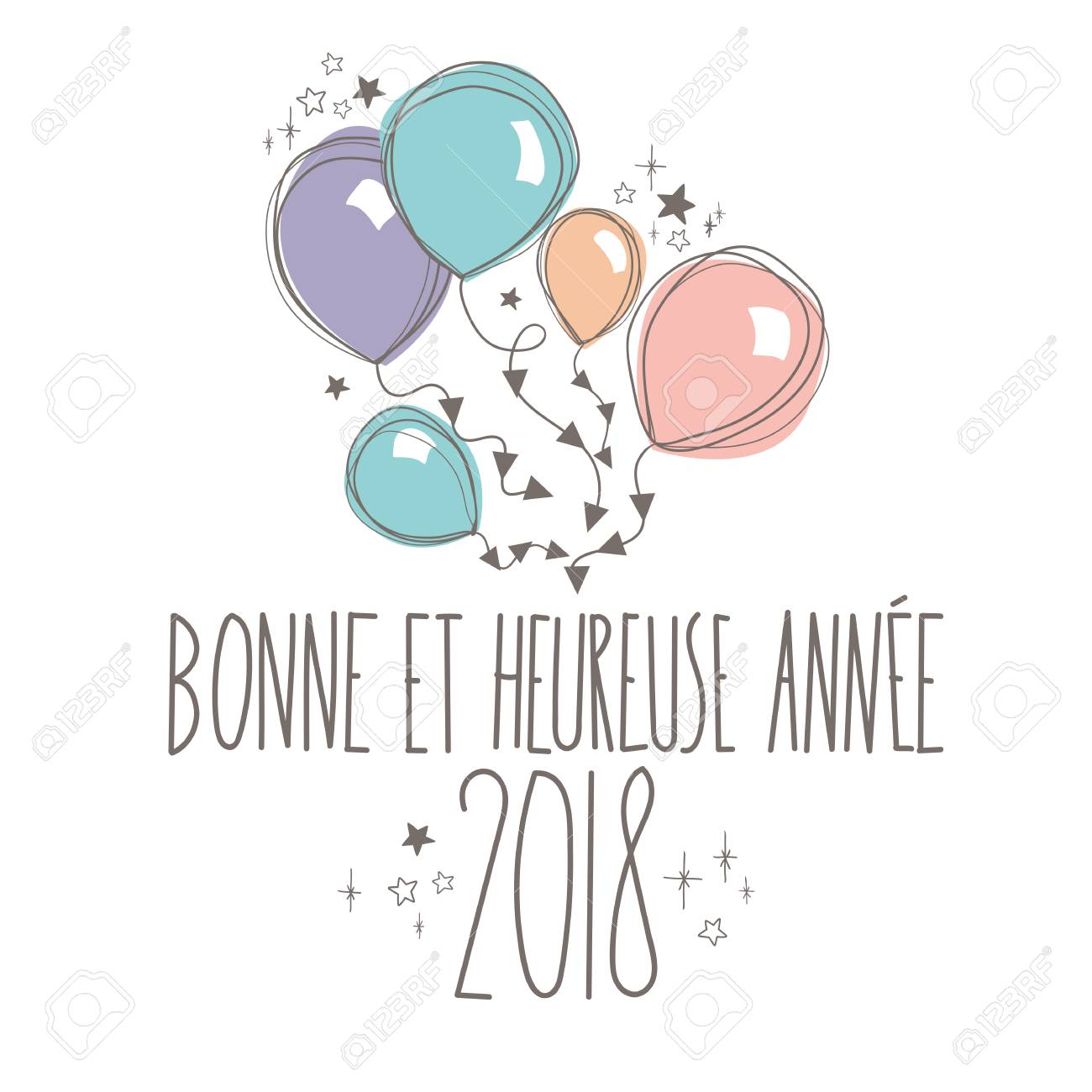 french sweet happy new year card full vector stock vector 88596367