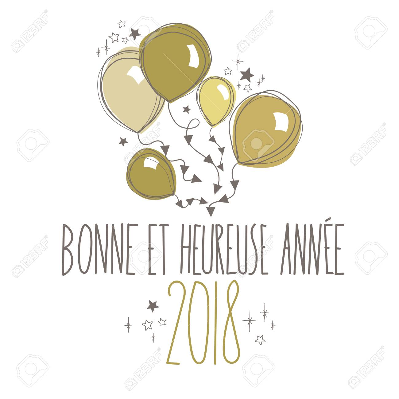 french sweet happy new year card full vector stock vector 88596699