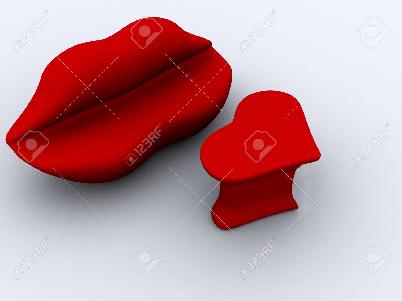 A Lips Sofa And A Heart Table On White Background   3d Render Stock Photo