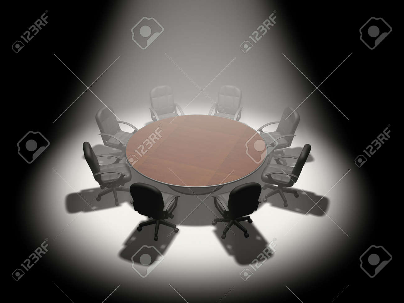 A round conference table and office chairs under a spot light - 3d render Stock Photo - 3150716