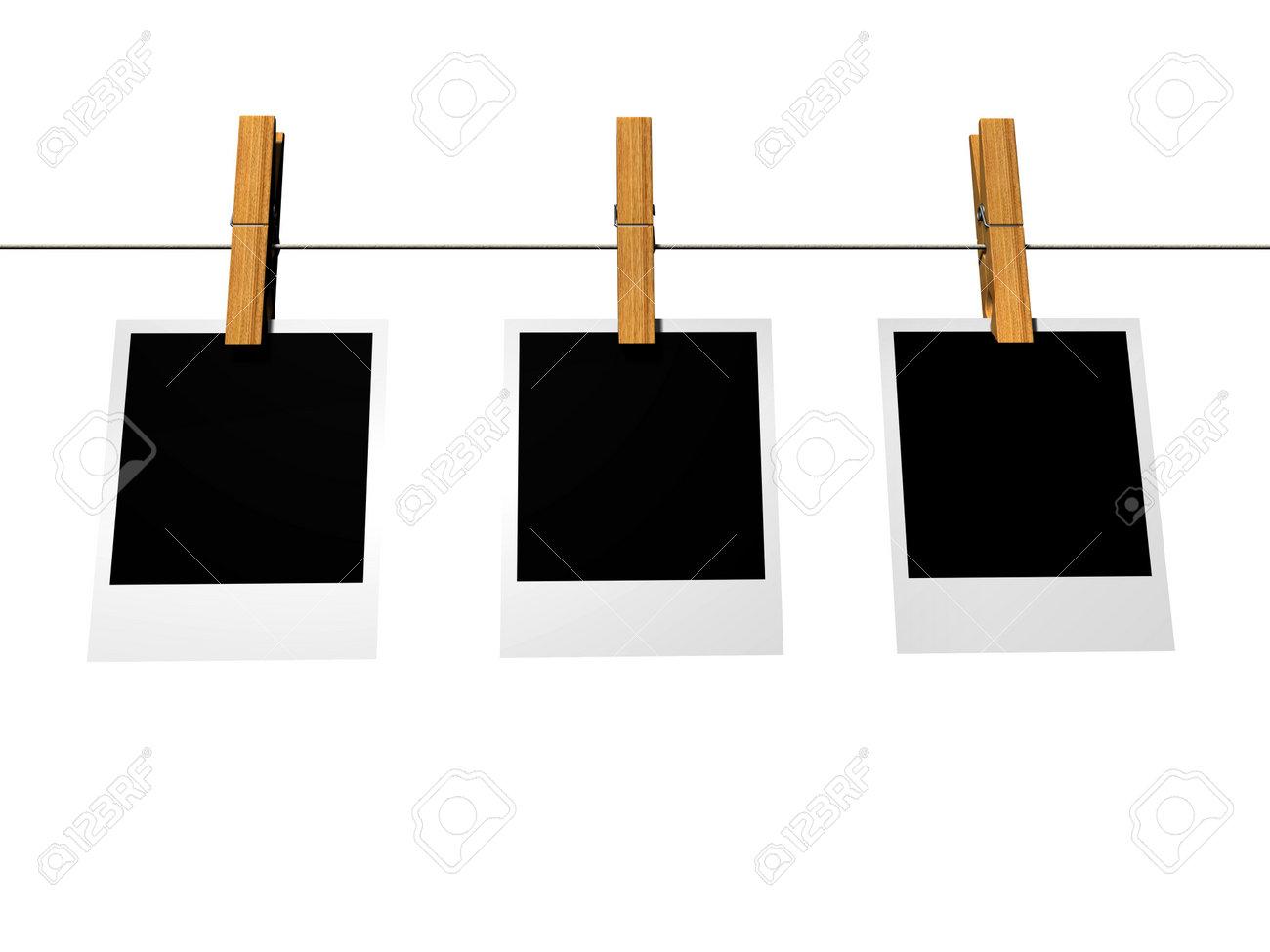 Three Polaroid Frames On Washline Isolated On White - 3d Render ...