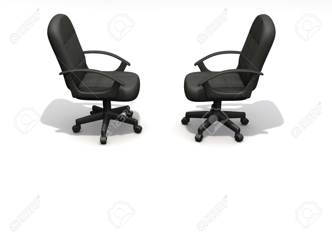 Two Office Chairs Face To On White Background