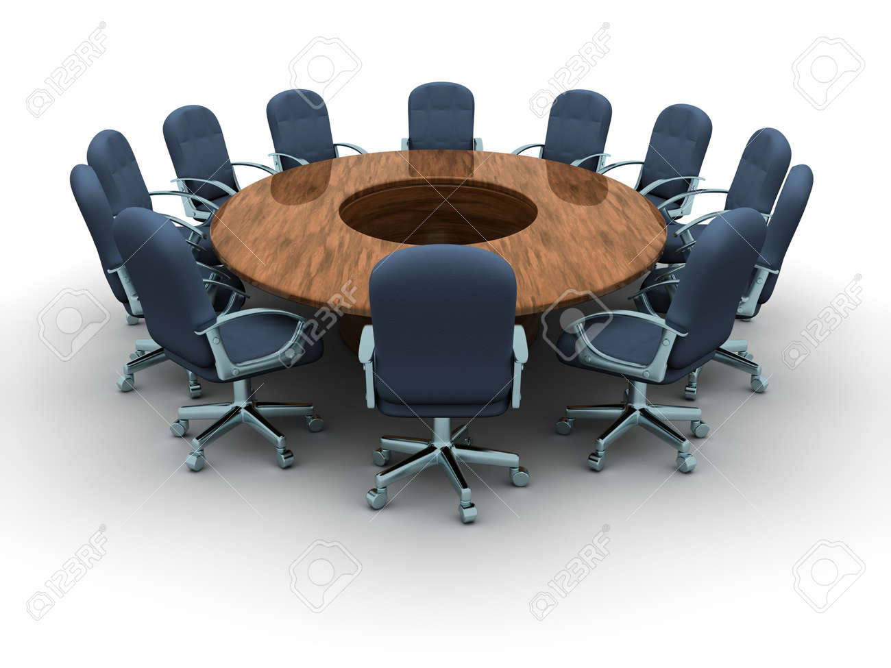 Round Conference Table And Chairs a Round Conference Table With