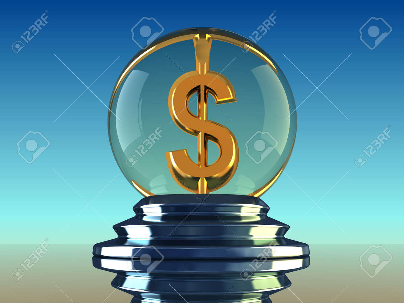 Cristal ball with dollar symbol inside - 3d render Stock Photo - 5862830