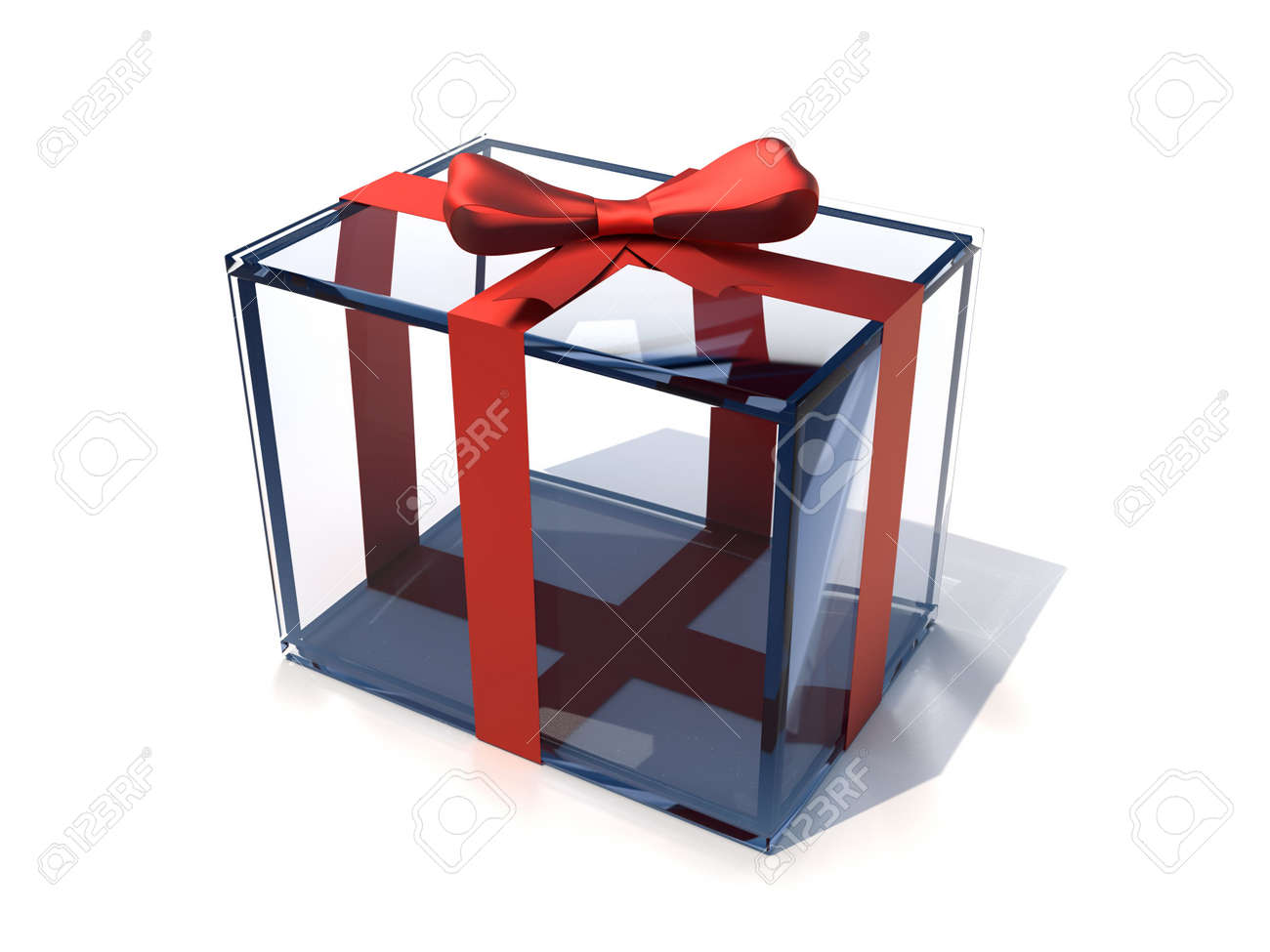 Glass present box with red bow - 3d render Stock Photo - 5862992