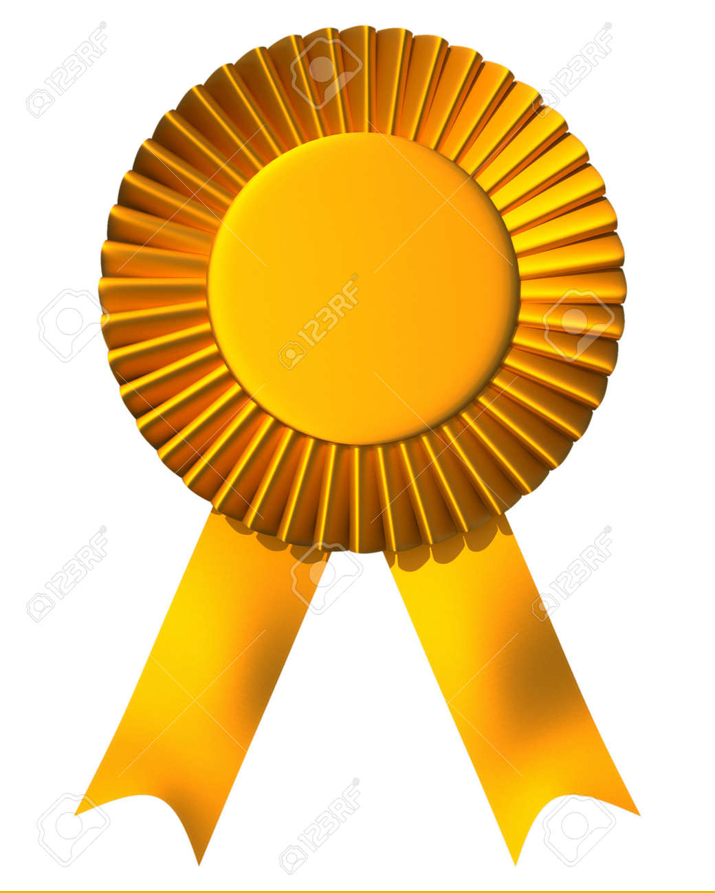 Yellow ribbon first place award isolated on white - 3d render - 5862848