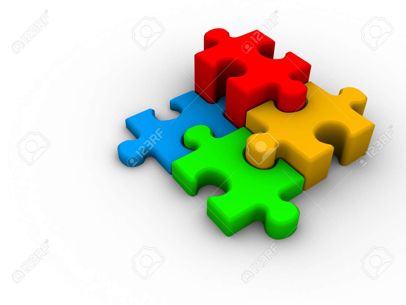 Four Connected Puzzle Pieces On White Background