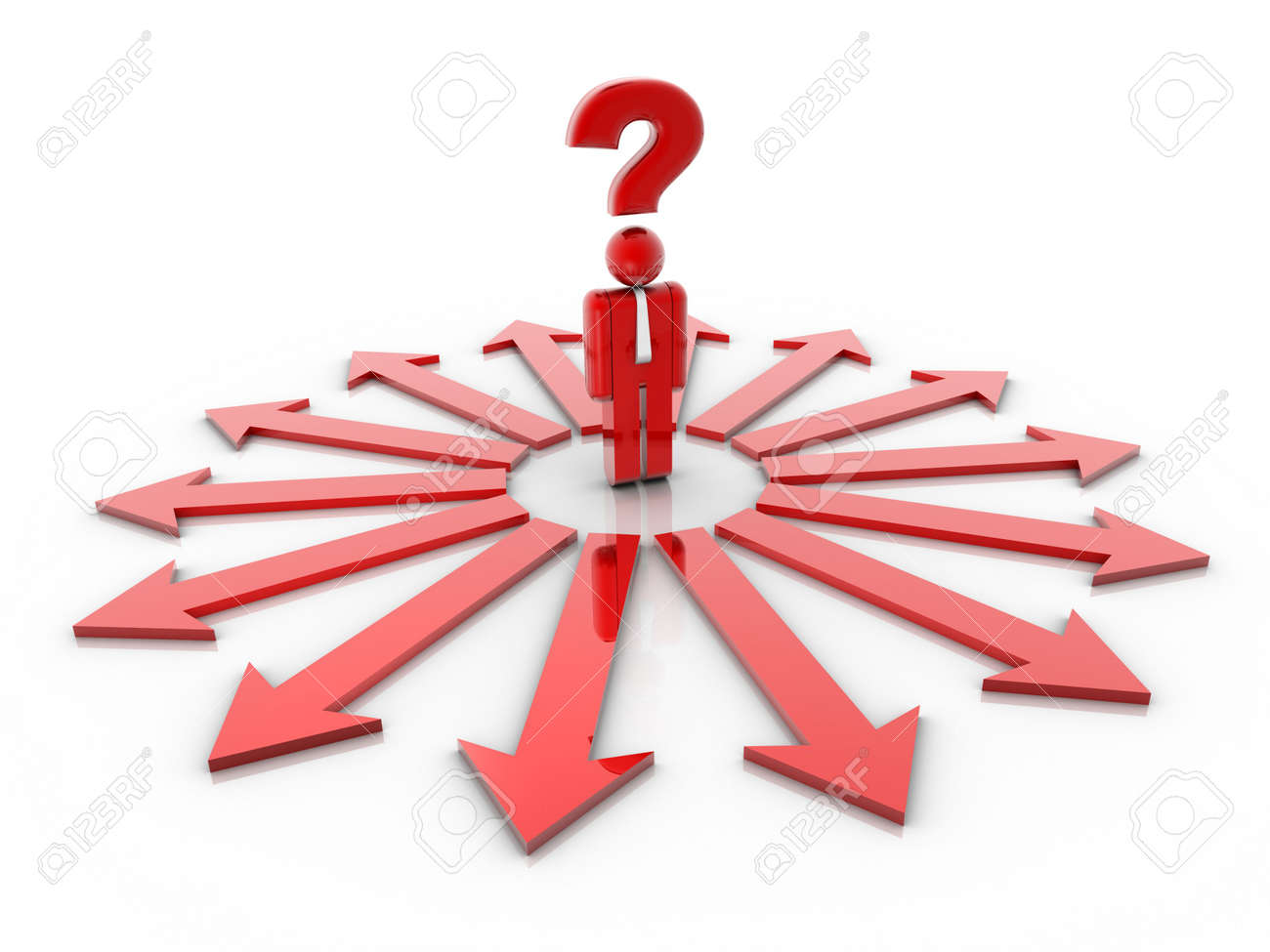 People icon with question mark over his head and surrounded by directional signs - 3d render Stock Photo - 5862606