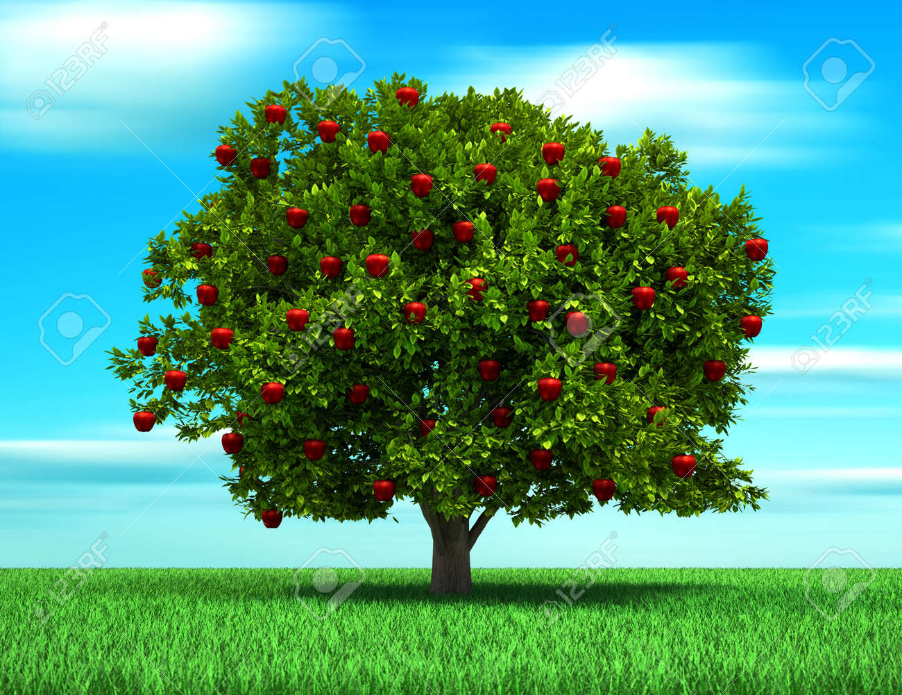 More similar stock images of 3d landscape with fall tree - Apple Tree Tree With Apple Fruits Surreal And Conceptual Look 3d Render Illustration