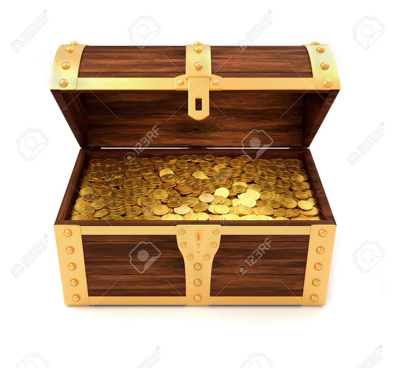 wooden treasure chest with gold coins printed with royal crown 3d render stock photo