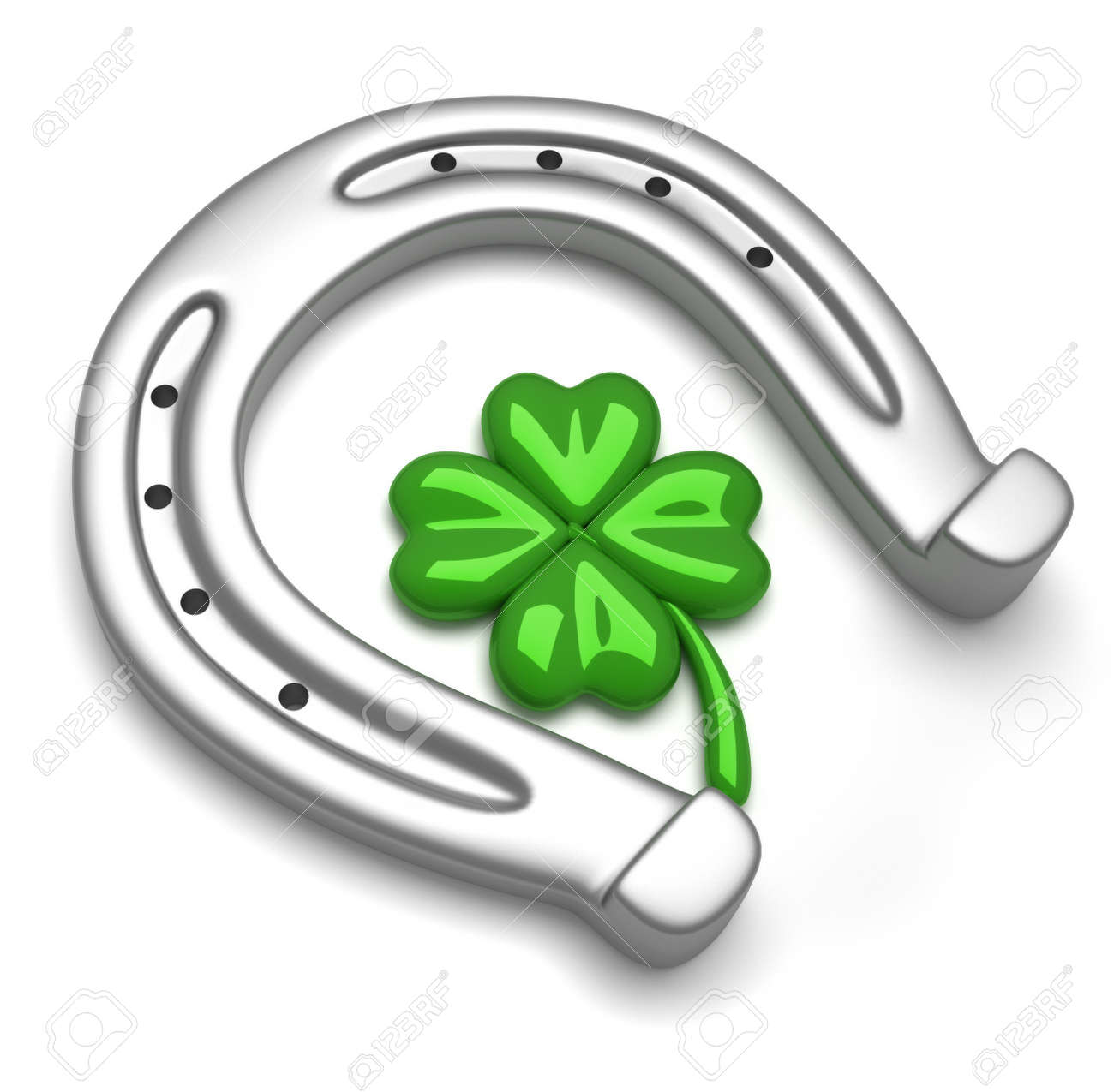 horseshoes and clover with four leaf stock photo picture and