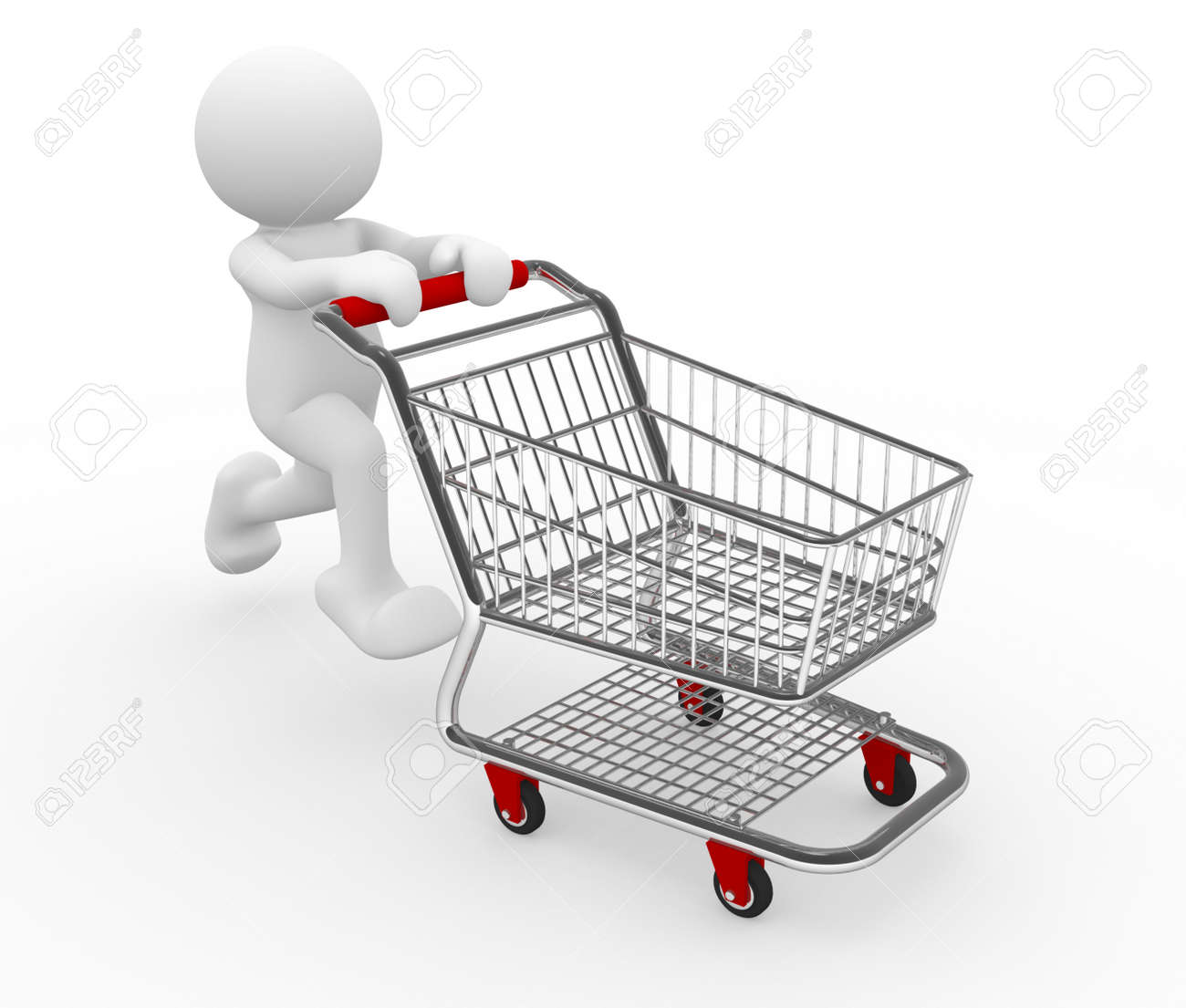 3d human with shopping cart 3d render illustration stock photo