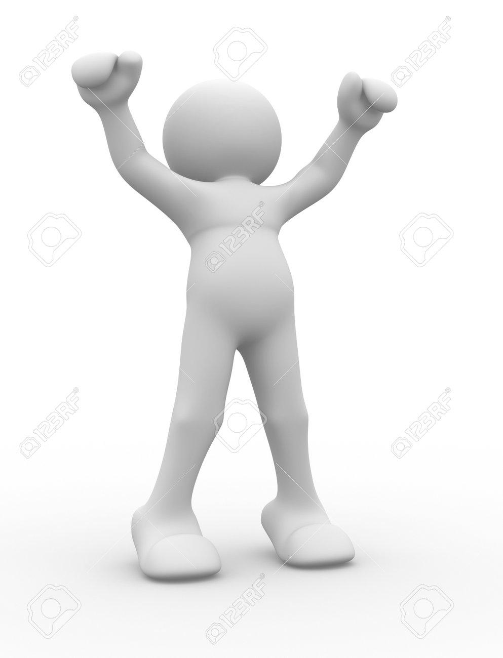 Human character in winner position - 3d render illustration Stock Illustration - 9034430