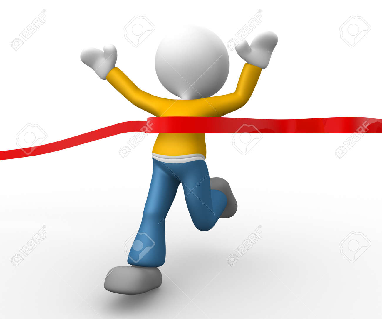 3d people - man, person has reached the finish line Stock Photo - 17792531