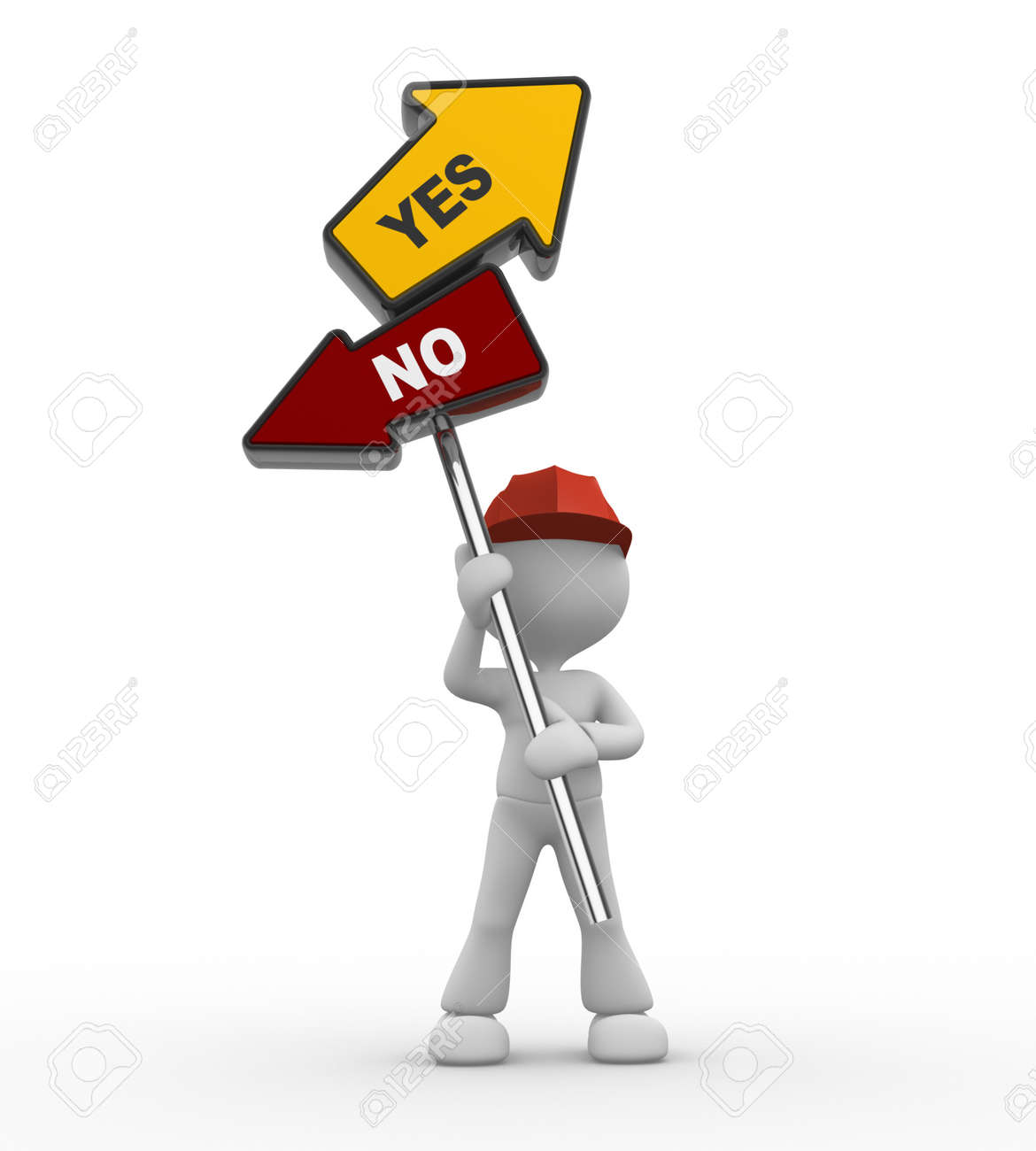3d people - man, person with a direction sign and text yes or no. Confusion Stock Photo - 17792478