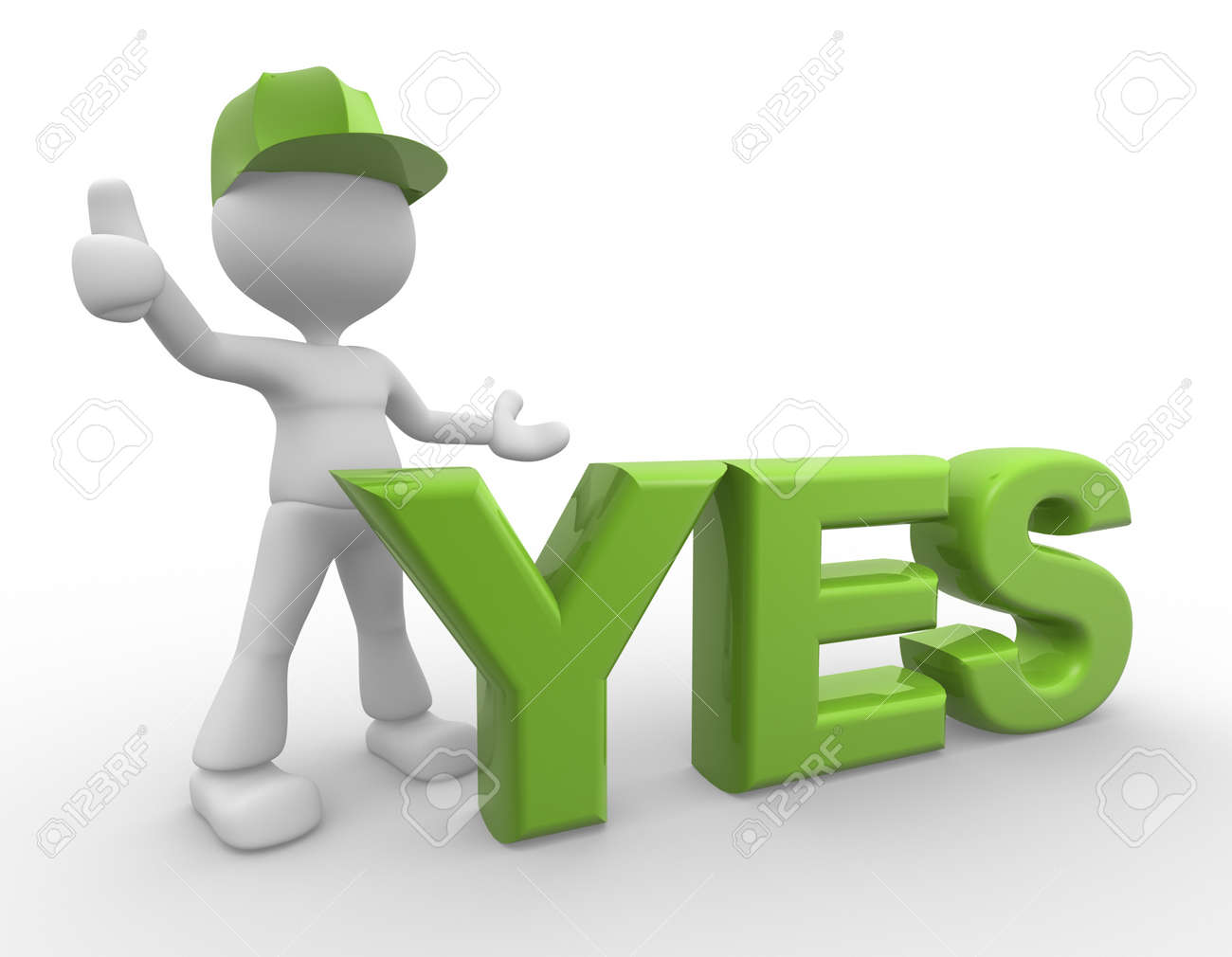 3d people man person standing near to an yes icon stock photo