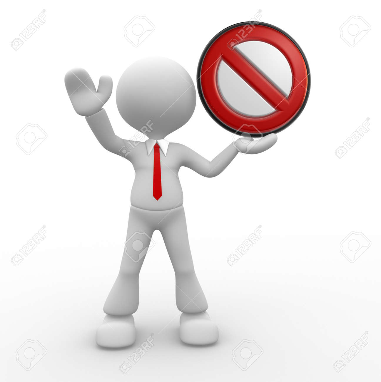 3d people - man, person with a stop sign. Stock Photo - 17905050