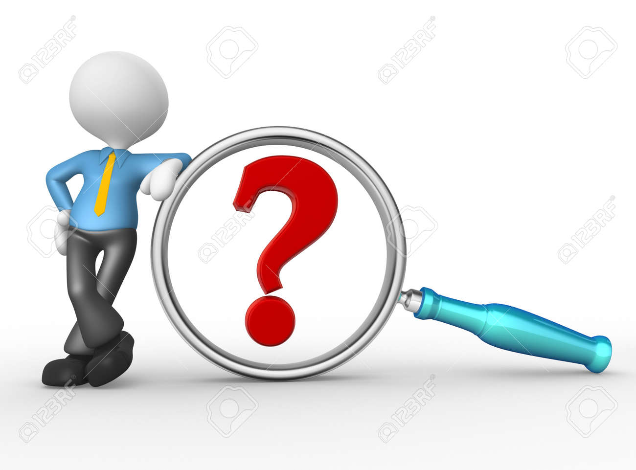 3d person with magnifying glass and question mark stock images image - 3d People Man Person With A Magnifying Glass And A Question Mark The