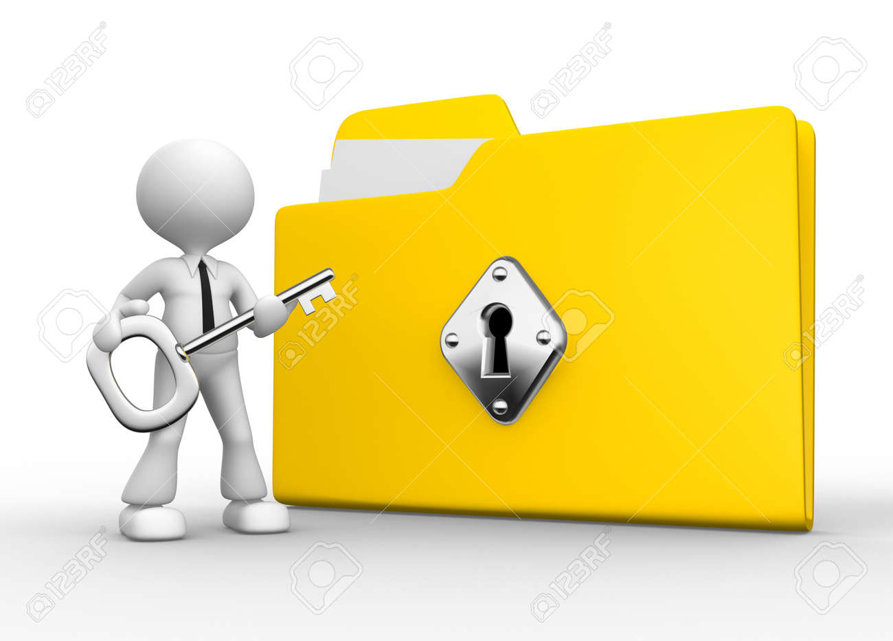 3d people - man, person with a folder and a key. Stock Photo - 18456251