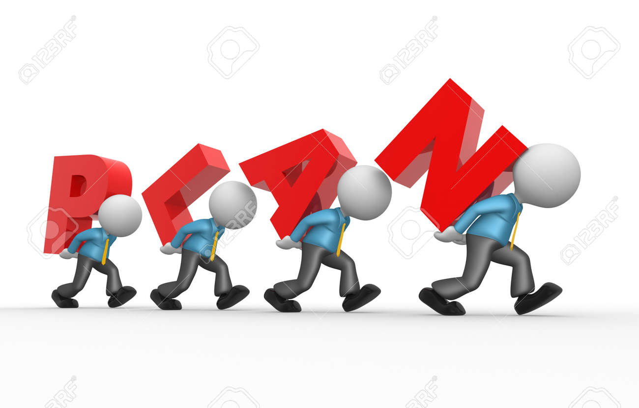 3d people - man, person with word plan. Planning Stock Photo - 18456224