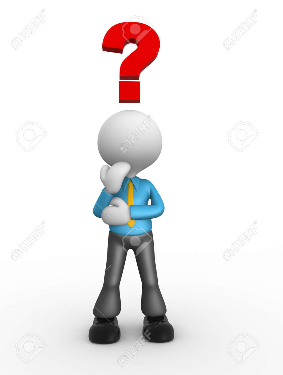 3d people - man, people thinking with red question mark above his head over Stock Photo - 18492124