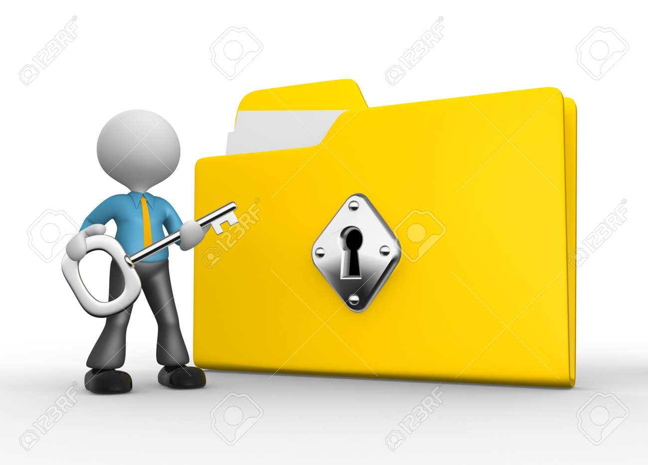 3d people - man, person with protected folder holding key in his hand. Stock Photo - 18492339