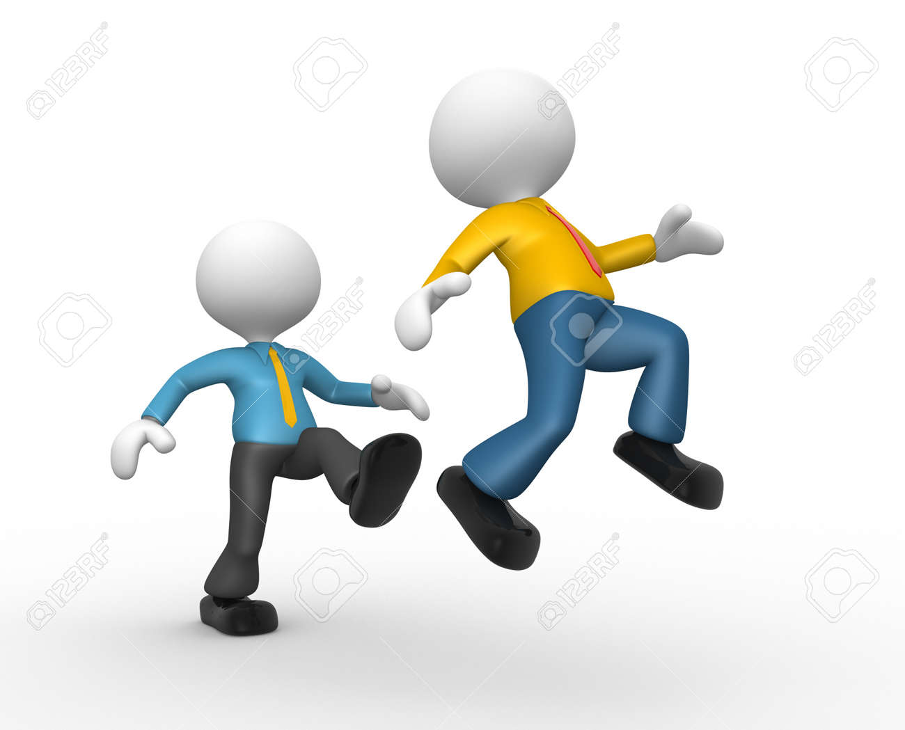 3d people - man, person kicking in the behind the opponent. Stock Photo - 18494643