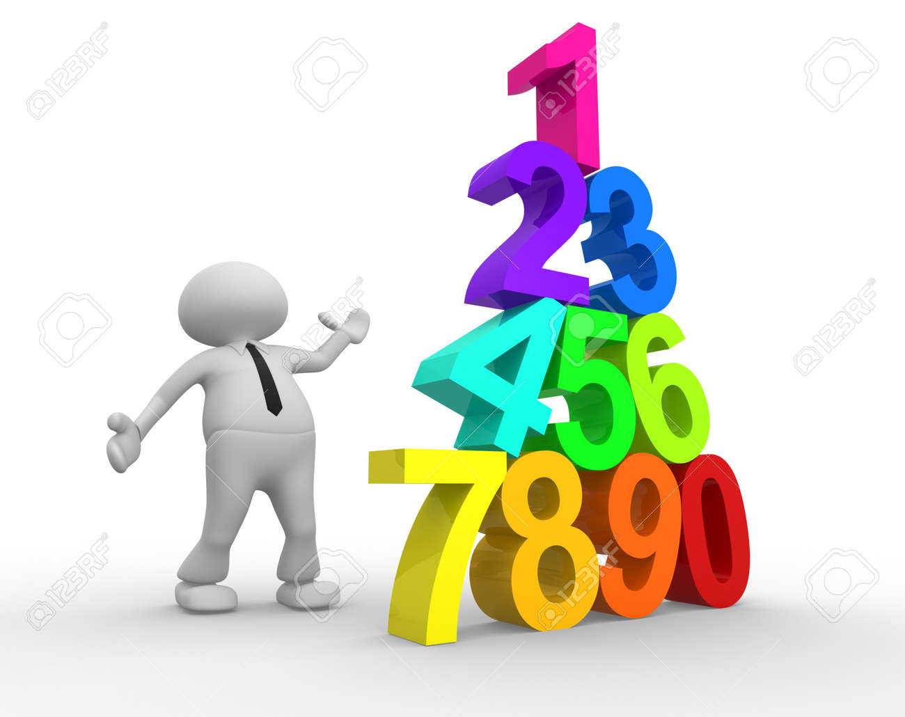 3d people - man, person and pyramid numerals. Stock Photo - 18528542