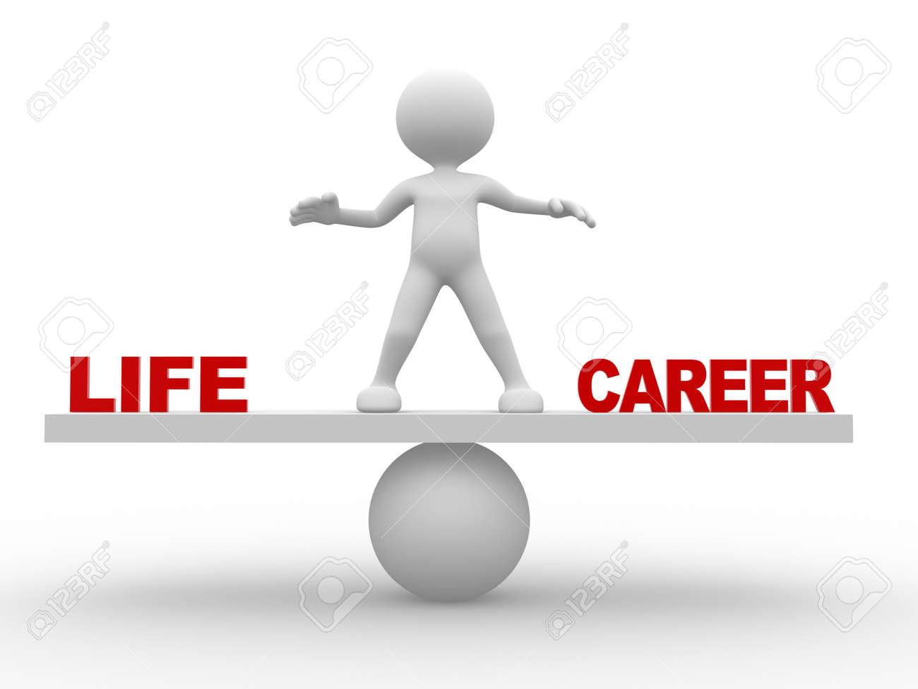 3d people man person concept of balance in life and career 3d people man person concept of balance in life and career stock photo