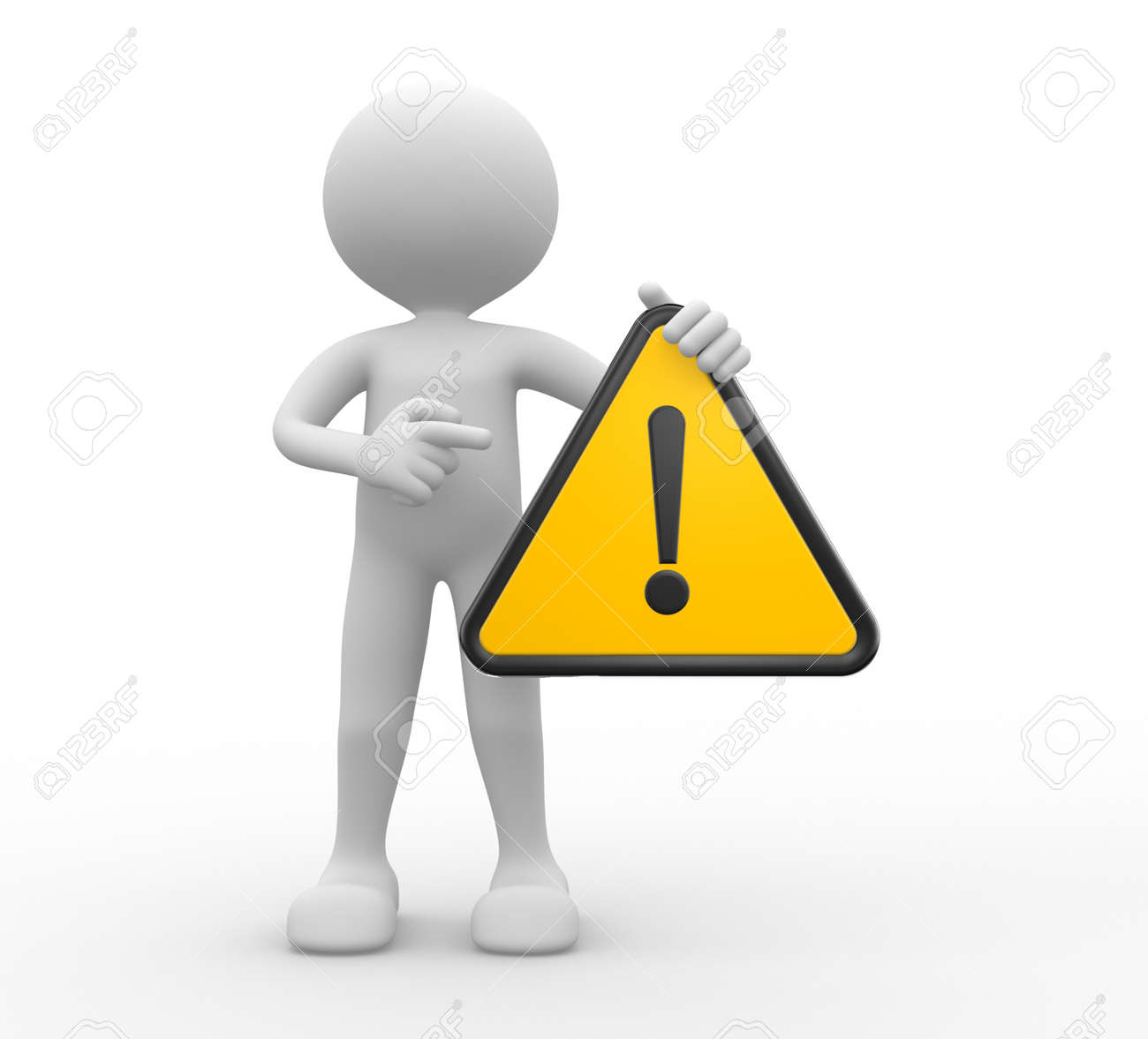 3d people - man, person with warning sign Stock Photo - 20611104