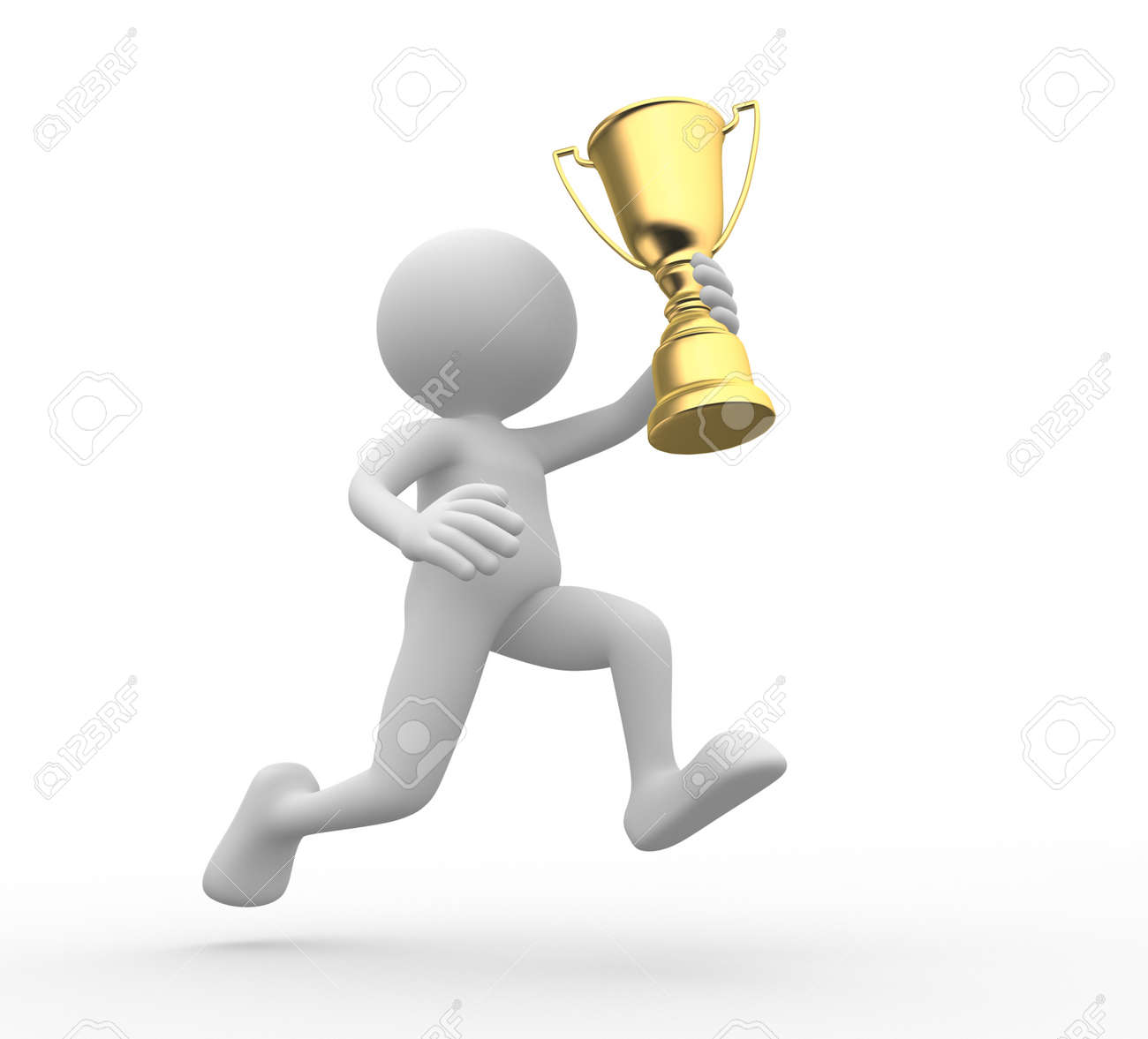3d people - man, person holding golden trophy Stock Photo - 20852118