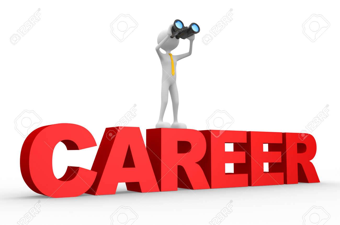 3d people - man, person with a binoculars and word CAREER Stock Photo - 20884725