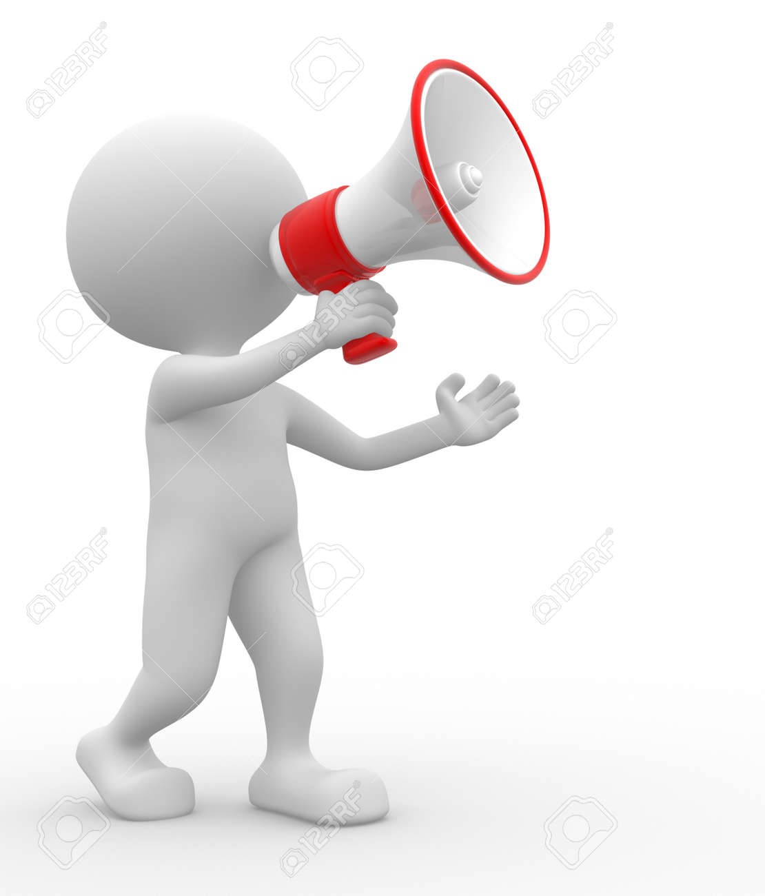 3d people - man, person with a megaphone Stock Photo - 21138609