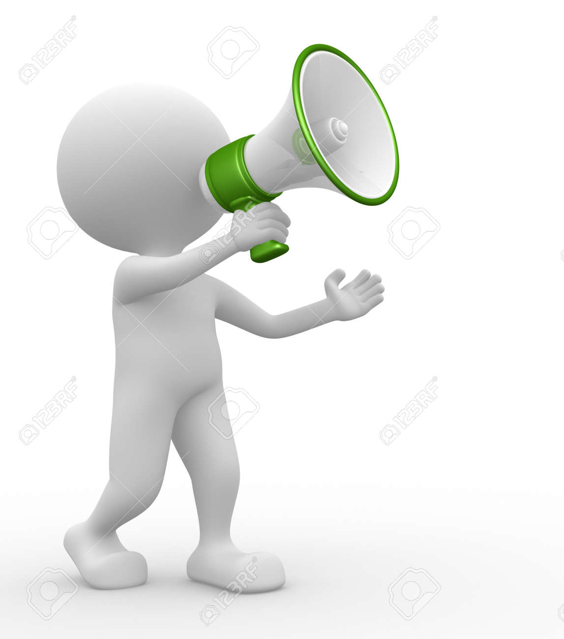 3d people - man, person with a megaphone Stock Photo - 21138610