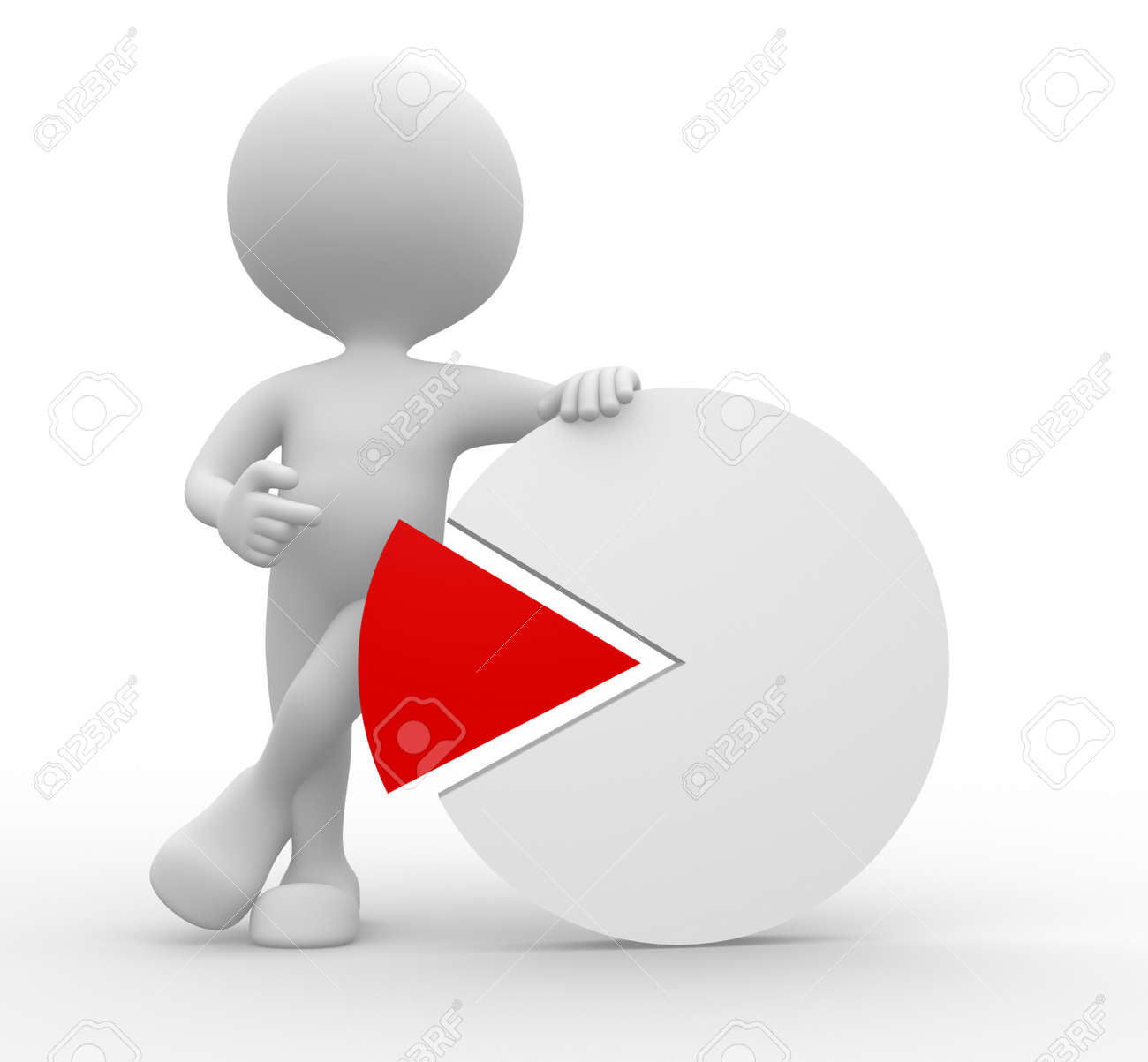 3d people - man, person with pie chat Stock Photo - 21138620
